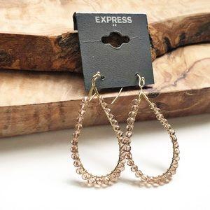 Express gold pink oblong hoops